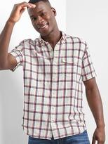 Gap Linen-cotton plaid short sleeve shirt