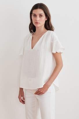 Velvet by Graham & Spencer Julia Ruffle Sleeve Cotton Gauze Blouse