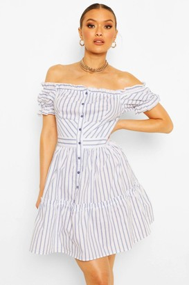 boohoo Button Down Off The Shoulder Striped Skater Dress