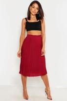 boohoo Crepe Pleated Midi Skirt