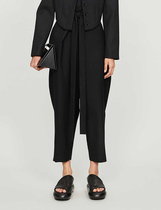 Daniel Pollitt Tie-belt tapered high-rise wool trousers