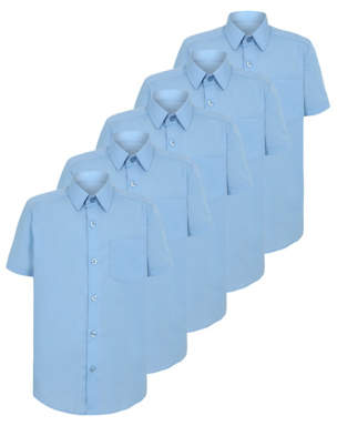 George Boys Light Blue Short Sleeve School Shirt 5 Pack