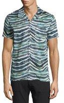 IRO Eluard Zebra-Print Short-Sleeve Shirt, Khaki White