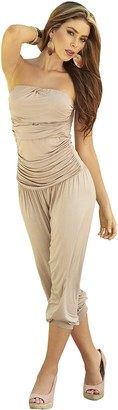 Am:Pm By Espiral Mapale by AM:PM Women's Strapless Casual Ruched Capri Fashion Jumpsuit