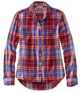 L.L. Bean Signature Drapey Button-Front Shirt, Plaid