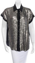 Elizabeth and James Sequined Silk Button-Up Top