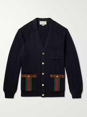 Gucci Horsebit Suede And Webbing-Trimmed Wool-Blend Cardigan