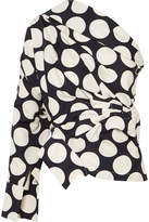 Awake One-shoulder Polka-dot Twill Top