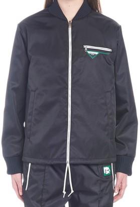 Prada Logo Zip-Front Bomber Jacket