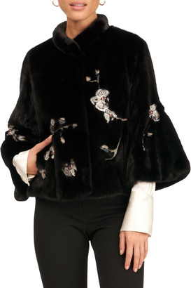 Gorski Bell-Sleeve Mink Jacket with Embroidery Detail