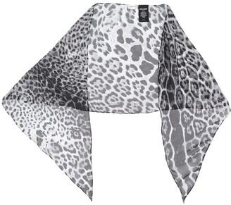 Saint Laurent Leopard-Print Sheer Scarf