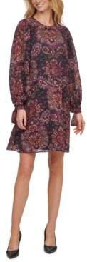 Calvin Klein Printed Chiffon Shift Dress