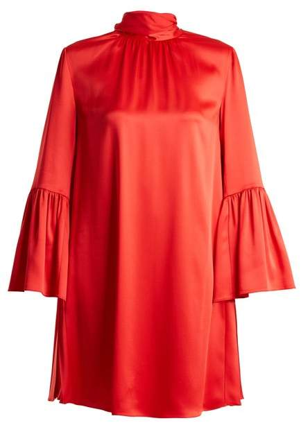 Fendi Tie Neck Crepe Back Satin Dress - Womens - Red