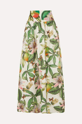 Agua Bendita Agua by Tropic Printed Embroidered Cotton Maxi Skirt - Green