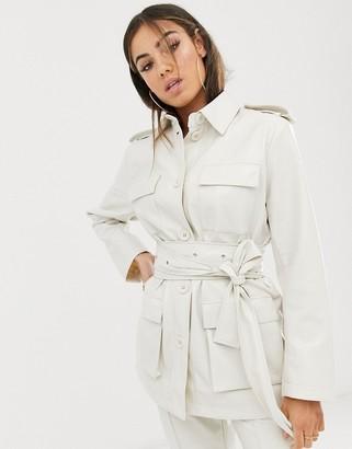 Asos Design DESIGN vinyl belted suit blazer-White