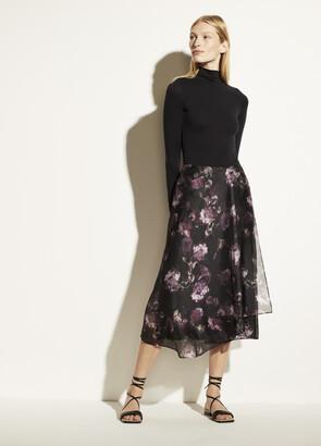 Vince Night Garden Handkerchief Drape Skirt