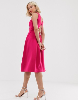 True Violet cut out back skater dress-Pink