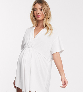 Asos DESIGN maternity jersey textured twist front beach cover up in white