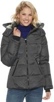 Women's Halitech Hooded Short Puffer with Faux Fur Trim Coat