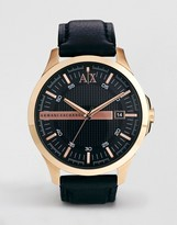 Armani Exchange Black Leather Strap Watch AX2129