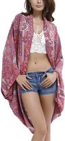 JINSHI Women's Floral Printed Swimwear Rayon Kimono Cover up Cardigan Rose Red