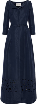 Carolina Herrera Belted Laser-cut Silk-faille Gown