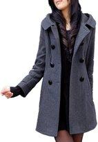 DreamMa Womens Winter Warm Wool Coat With Hood Long Jacket Trench Coat
