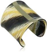 Vince Camuto Horn and Minimal Hue Black Horn/Olive Cuff Bracelet