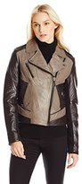 Laundry by Shelli Segal Women's Two Tone Leather Moto Jacket