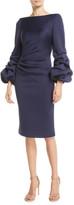Jovani Shirred Balloon-Sleeve Dress