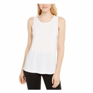 Ideology Womens White Sleeveless Scoop Neck Top Size: L