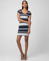 Le Château Stripe Jersey Scoop Neck Mini Dress