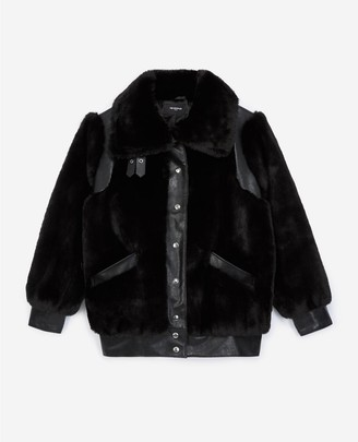 The Kooples Black faux fur coat with leather detail