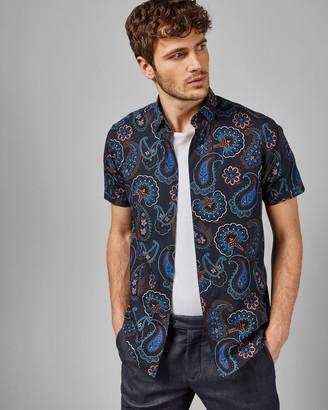 Ted Baker Short Sleeved Cotton Paisley Shirt