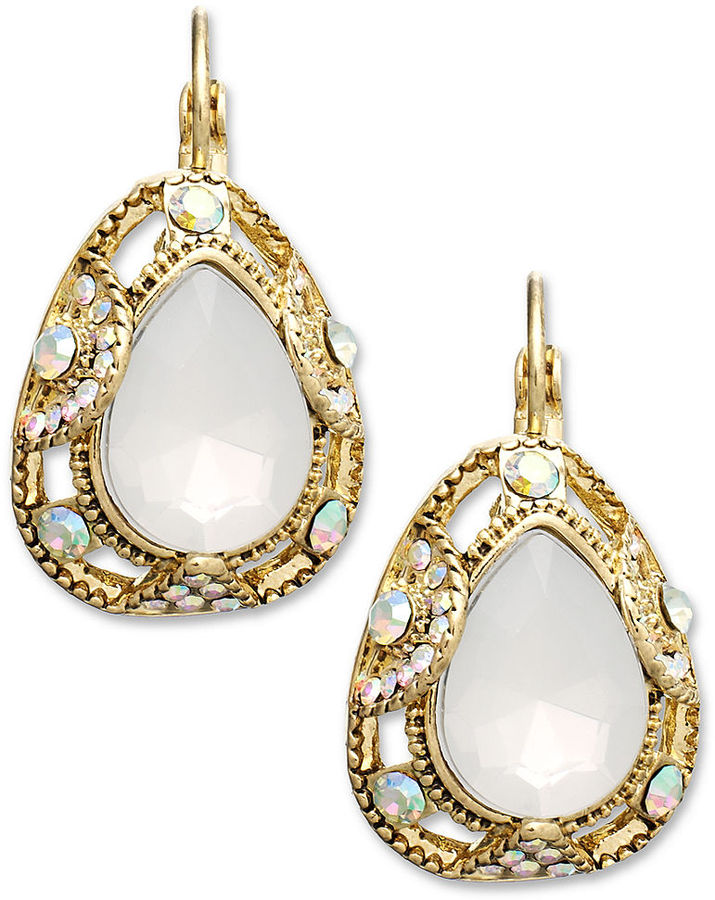 Style&Co. Earrings, Gold-Tone Faceted Teardrop and Crystal Earrings