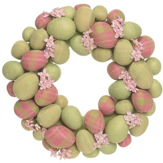 Transpac Plastic 10 in. Multicolor Easter Pastel Egg Wreath