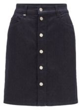 HUGO BOSS A-line skirt in comfort-stretch denim with buttoned front