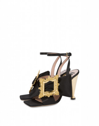 Moschino Frame Satin Sandals Woman Black Size 36 It - (6 Us)