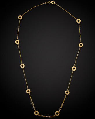 Italian Gold 14K Textured Circles Station Necklace