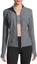 Beyond Yoga Eat Sleep & Re-Pleat Space-Dye Athletic Jacket, Black/White