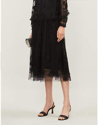 Selfridges Needle And Thread Eleanor embroidered mesh midi skirt