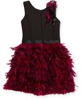 Zoë Ltd Sleeveless Ponte & Feather Dress, Black/Pink, Size 7-16