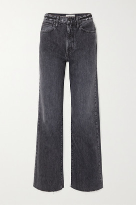 SLVRLAKE Grace Frayed High-rise Wide-leg Jeans - Dark denim