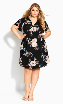 City Chic Precious Floral Dress - black