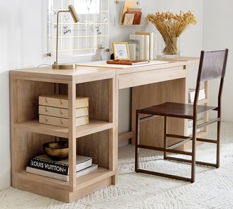 "Pottery Barn Pacific 74"" Desk with Bookcases"