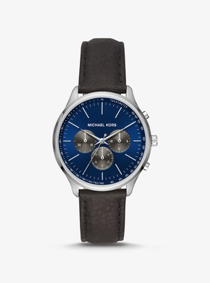 Michael Kors Sutter Leather and Silver-Tone Watch