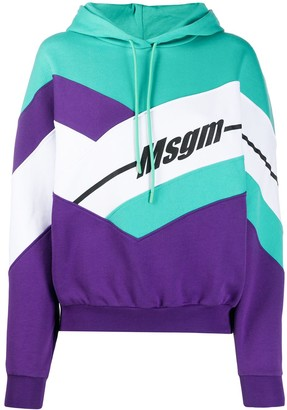 MSGM Colour-Block Hooded Sweatshirt