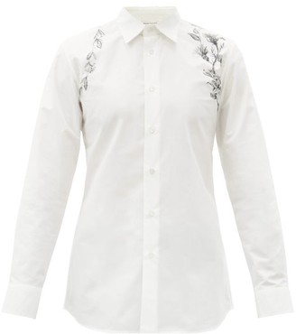 Alexander McQueen Floral-print Harness Cotton-poplin Shirt - White Black