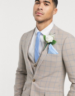 ASOS DESIGN wedding super skinny suit jacket in wool mix with beige grid check