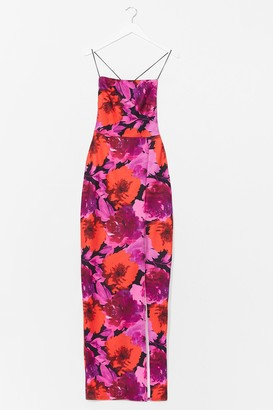 Nasty Gal Womens Bright Floral Lace Up Back Maxi Dress - Pink